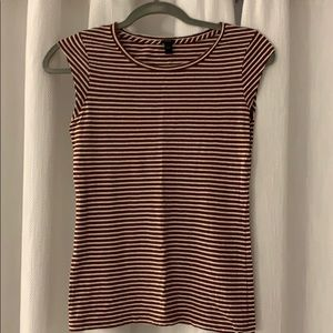 J. Crew Size XXS Brown and White Striped T-Shirt